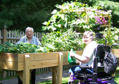 Mike and Kay enjoying their Accessible Garden